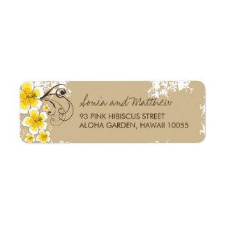 fatfatin Tropical Hibiscus Yellow Custom Wedding L Return Address Label