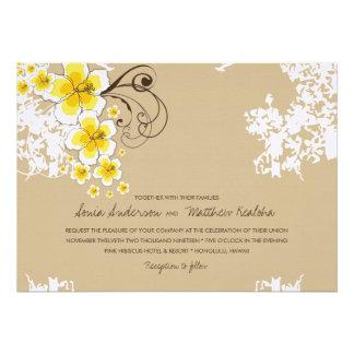 fatfatin Tropical Hibiscus Yellow Wedding Invite Personalized Announcement