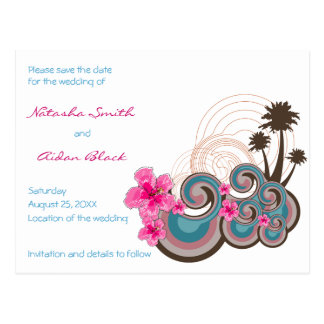 fatfatin Tropical Waves Hibiscus Save The Date Postcard
