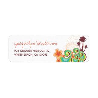 fatfatin Tropical Waves Orange Hibiscus Address La Custom Return Address Label