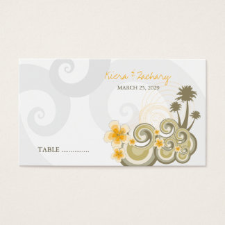 fatfatin Tropical Waves Yellow Hibiscus Place Card