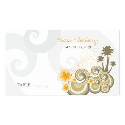 fatfatin Tropical Waves Yellow Hibiscus Place Card Double-Sided Standard Business Cards (Pack Of 100)