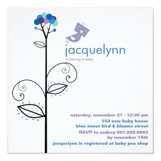 fatfatin Tweet Bird Blue Baby Shower Invitation Personalized Invite