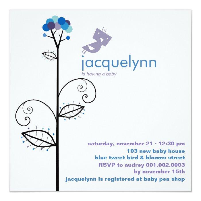 fatfatin Tweet Bird Blue Baby Shower Invitation