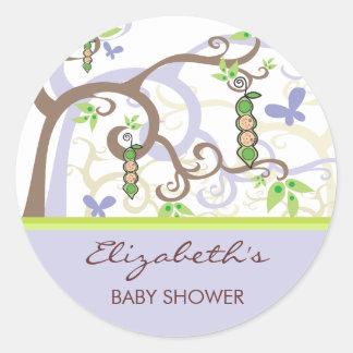 fatfatin Twin Girl Boy Peas In A Pod Baby Shower Classic Round Sticker