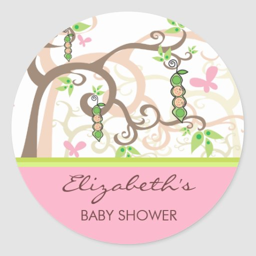 fatfatin twin girls peas in a pod baby shower round stickers