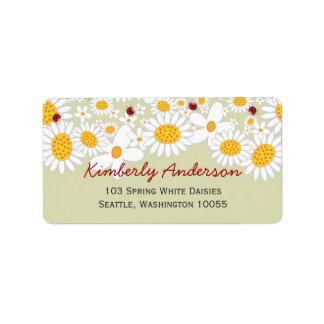 fatfatin White Daisies Ladybug Address Labels