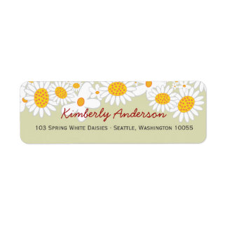 fatfatin White Daisies Ladybug Address Labels