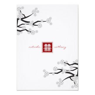 fatfatin White Sakuras Double Happiness Wedding Invitations