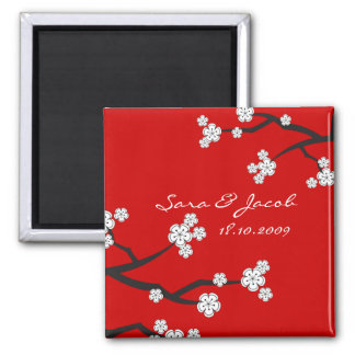 fatfatin White Sakuras Save The Date Magnet