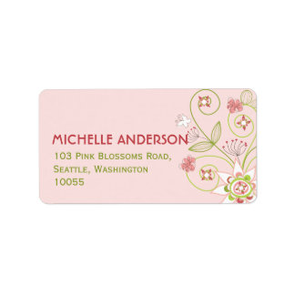 fatfatin Wild Sweet Pink Blooms Address Labels