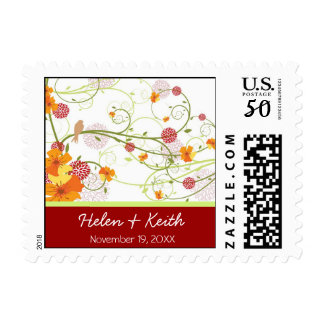 fatfatin Yellow Floral Swallows Wedding Stamps