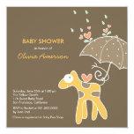 fatfatin Yellow Giraffe Baby Shower Invitation Custom Announcements