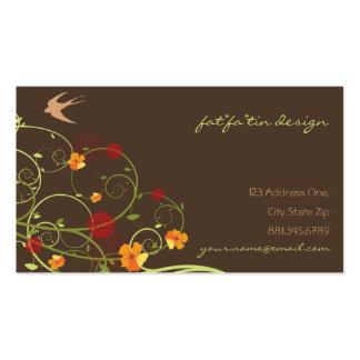 fatfatin Yellow Hibiscus Swirls Swallows Profile Business Card