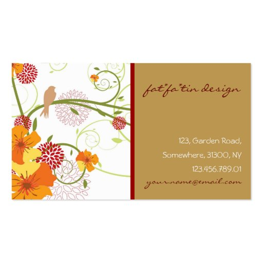 fatfatin Yellow Hibiscus Swirls Swallows Profile Double-Sided Standard Business Cards (Pack Of 100)