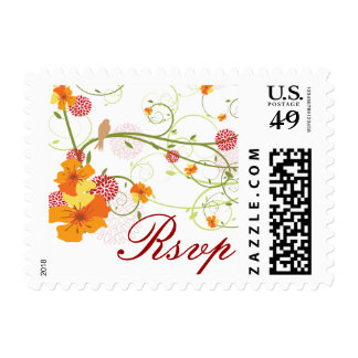 fatfatin Yellow Hibiscus Swirls Swallows RSVP Stamp
