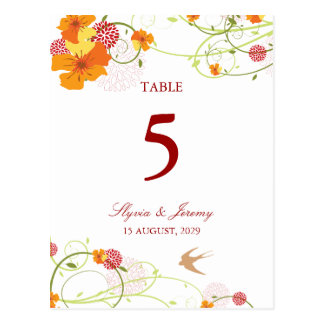 fatfatin Yellow Hibiscus Swirls Table Number Card