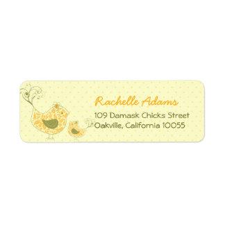 fatfatin Yellow Swirly Mom & Baby Bird Labels