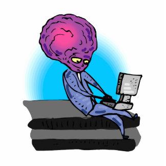 Father Alien on Laptop Standing Photo Sculpture