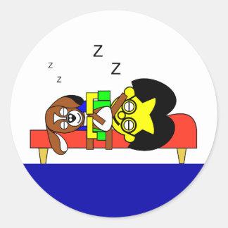 Father and Beagy Classic Round Sticker