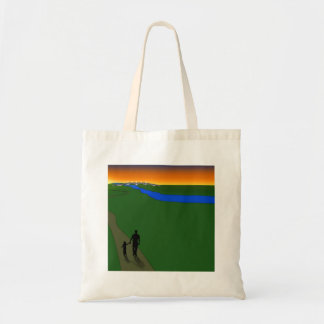Father And Child Evening Walk Canvas Bag