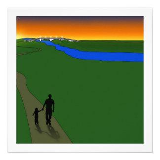 Father And Child Evening Walk Custom Invites
