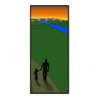 Father And Child Evening Walk Full Color Rack Card