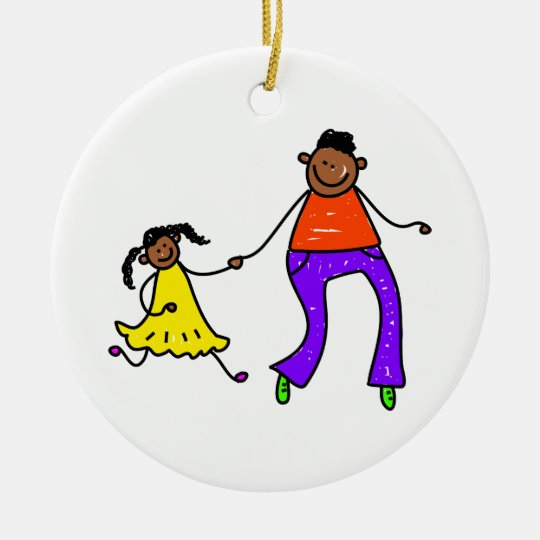 Father And Daughter Ceramic Ornament