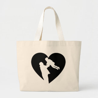 Father And Daughter Heart Large Tote Bag
