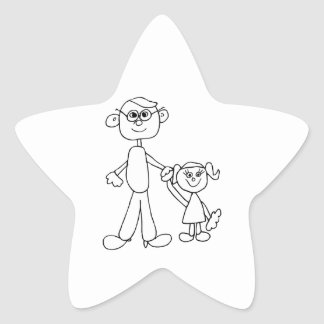Father and Daughter Star Sticker