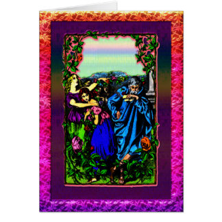 Father and his daughter s in garden Greeting Card