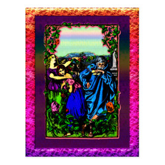 Father and his daughter s in garden Postcard