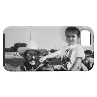 Father and son (2-4) at rodeo (B&W) iPhone SE/5/5s Case