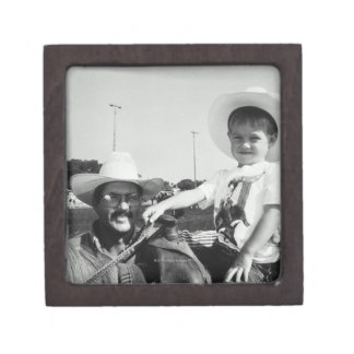 Father and son (2-4) at rodeo (B&W) Keepsake Box