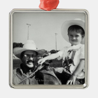 Father and son (2-4) at rodeo (B&W) Metal Ornament