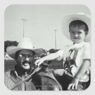 Father and son (2-4) at rodeo (B&W) Square Sticker