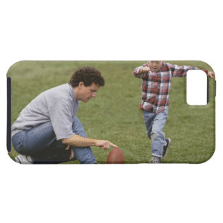 Father and son (4-6) playing American football iPhone SE/5/5s Case