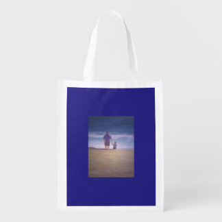 Father and Son at the Beach Grocery Bag