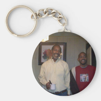 Father and son basic round button keychain
