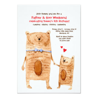 Father and Son Bears Invitation