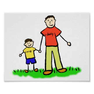 Father and Son Custom Family Characters Art Poster