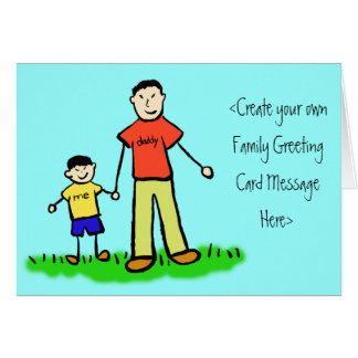 Father and Son Family Character Custom Note Cards