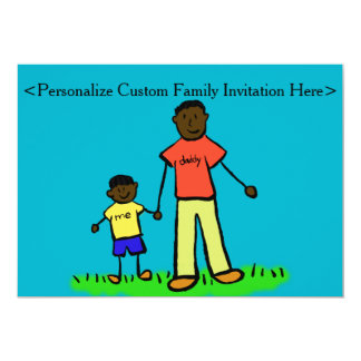 Father and Son Family Characters Custom Invitation
