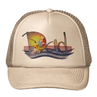 Father and son fishing artistic text design trucker hat