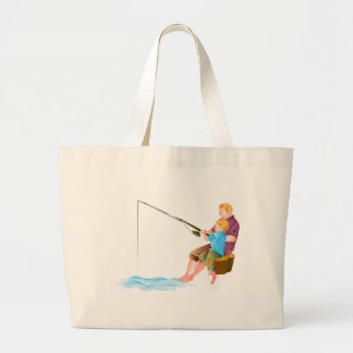 Father and son fishing tote bags