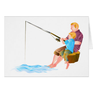 Father and son fishing cards