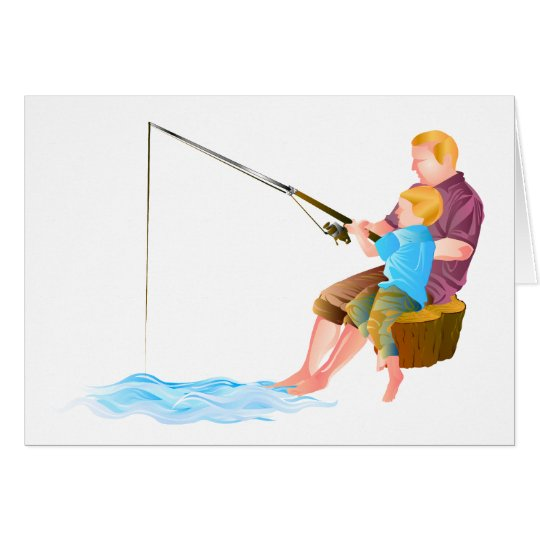 Father and son fishing card