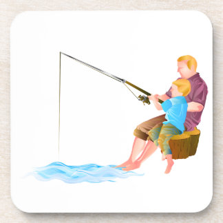 Father and son fishing drink coasters