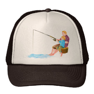Father and son fishing hats