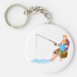 Father and son fishing key chain